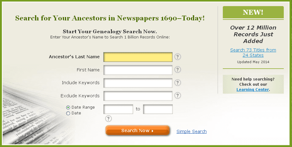 screenshot of GenealogyBank's home page announcement of the recent addition of 12 million articles and records to its digitized newspaper collection