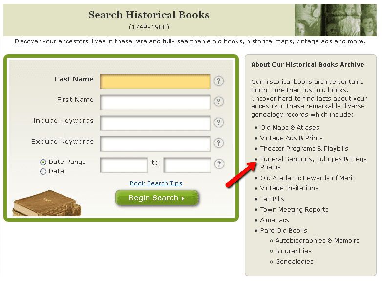 a screenshot of the search page for GenealogyBank's Historical Books collection