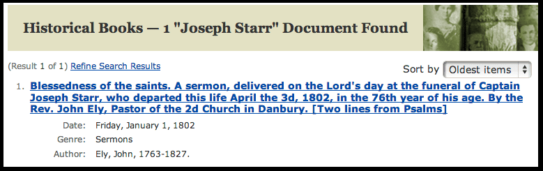 screenshot of GenealogyBank's search results page for funeral sermons