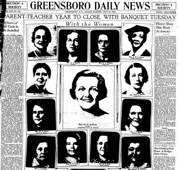 article about women in the local PTA, Greensboro Daily News newspaper article 15 May 1938