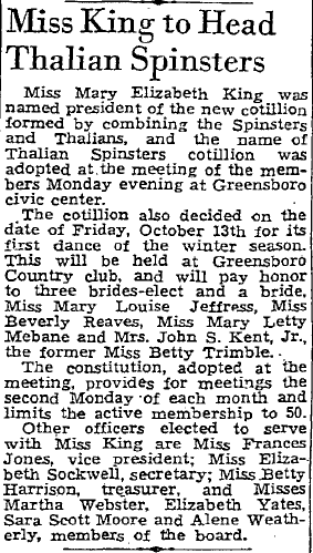 Miss King to Head Thalian Spinsters, Greensboro Record newspaper article 12 September 1939