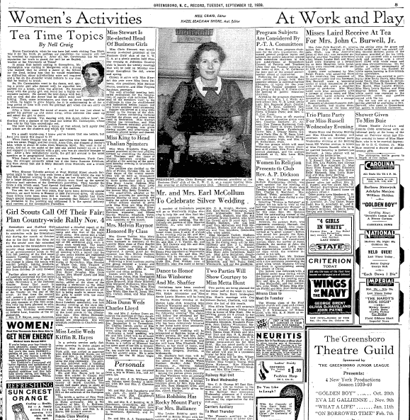 Women's Activities page, Greensboro Record newspaper 12 September 1939