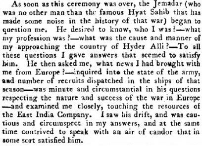 "extract from a historical book: ""A Narrative of the Extraordinary Adventures, and Sufferings by Shipwreck & Imprisonment, of Donald Campbell, Esq. of Barbreck. With the Singular Humors of His Tartar Guide, Hassan Artaz."" 1801 edition, page 260."