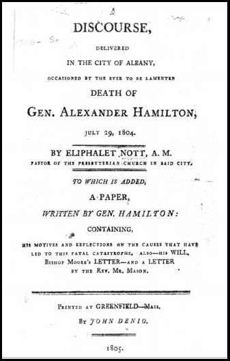 photo of the funeral sermon for Alexander Hamilton, 1804
