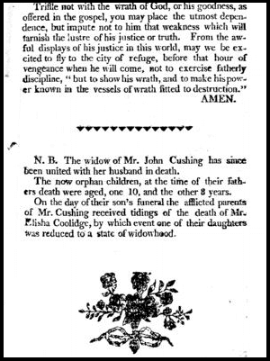 photo of the funeral sermon for John Cushing, 1806