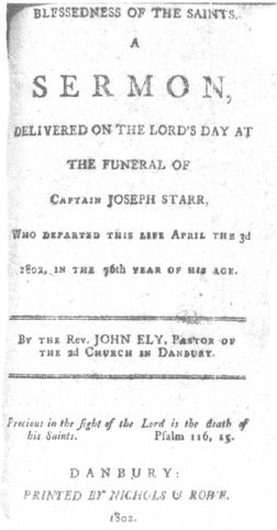 photo of the cover of the funeral sermon for Captain Joseph Starr, 1802
