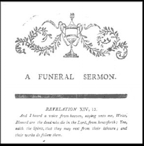 photo of the funeral sermon for Lydia Fisk, 1805