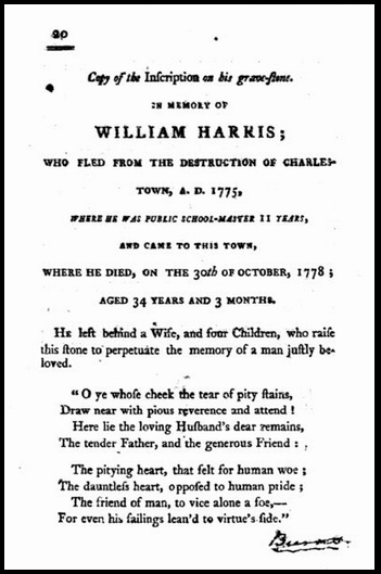 photo of the funeral sermon for Mrs. William Harris, 1801