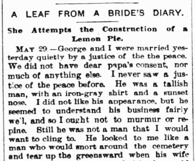 A Leaf from a Bride's Diary, Hyde Park Herald newspaper article 5 June 1886