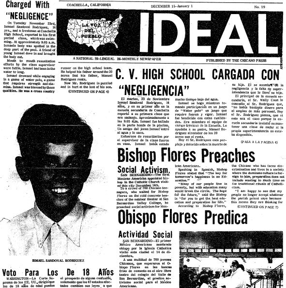front page of the newspaper Ideal 15 December 1970