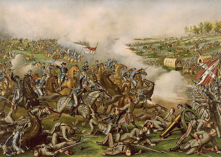painting of the Civil War Battle of Five Forks, Virginia, showing a charge led by Union General Philip Sheridan, by Kurz & Allison