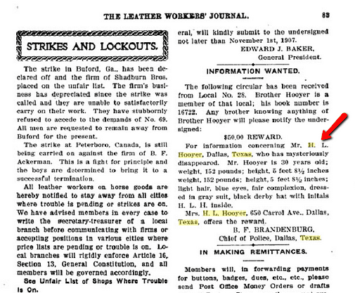 article about Henry Hooyer, The Leather Workers' Journal magazine article October 1907