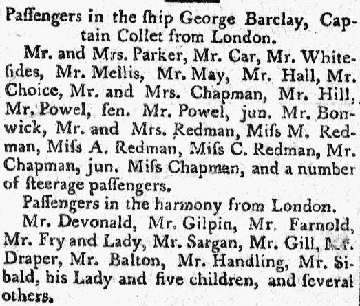 passenger list from the ship George Barclay, Massachusetts Mercury newspaper article 23 April 1793