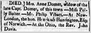 obituary for Hezekiah Huntington, Massachusetts Spy newspaper article 25 February 1773