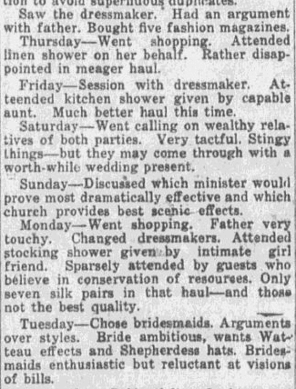 extracts from a young bride's diary, Montgomery Advertiser newspaper article 13 November 1921