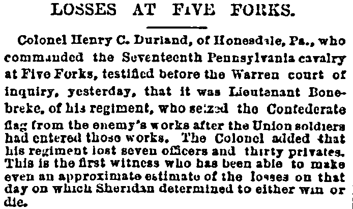 Losses at Five Forks, New York Herald newspaper article 15 October 1880
