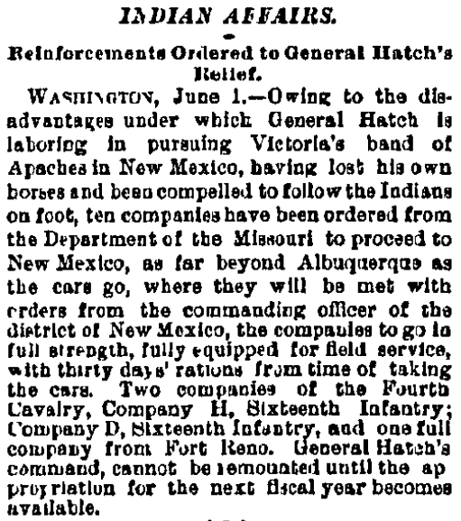 article about the Apache War in New Mexico, Philadelphia Inquirer newspaper article 2 June 1880