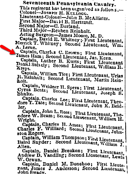 article about the roster of the Seventeenth Pennsylvania Cavalry during the Civil War, Philadelphia Inquirer newspaper article 21 November 1862