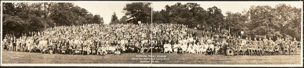 photo of the Pershing family reunion, Idlewild Park, Westmoreland County, Pennsylvania, 8 September 1923
