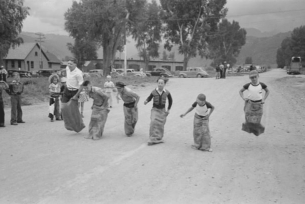 photo of a boys' sack race, Labor Day celebration, Ridgway, Colorado, c.1940