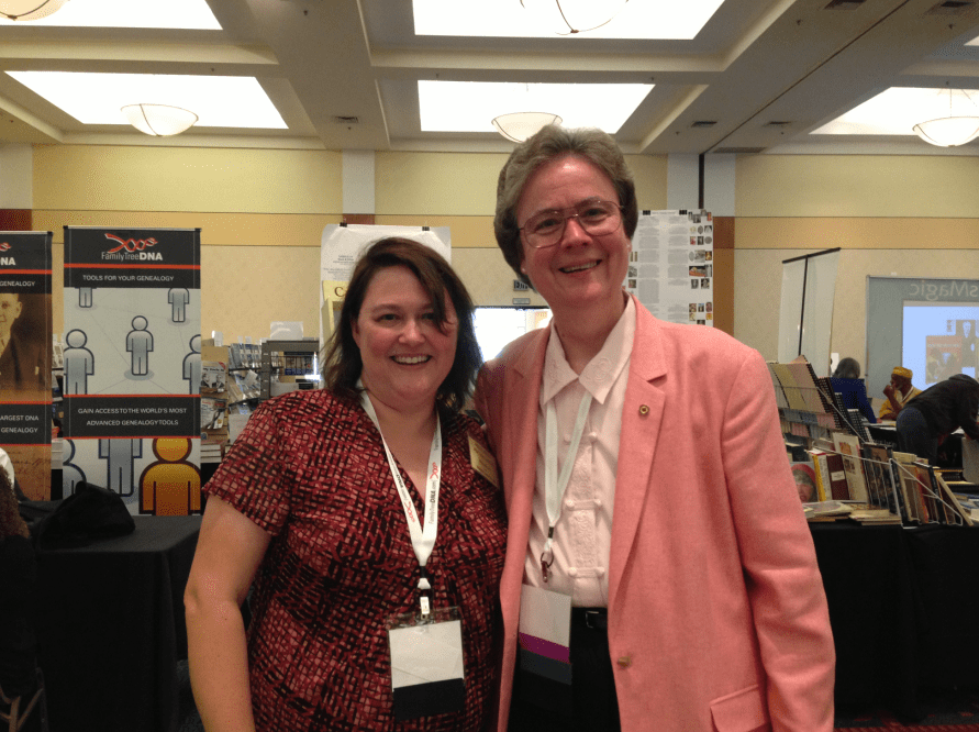 photo of blog authhor Gena Philibert-Ortega (left) with Judy G. Russell (The Legal Genealogist), from last year's Jamboree genealogy conference
