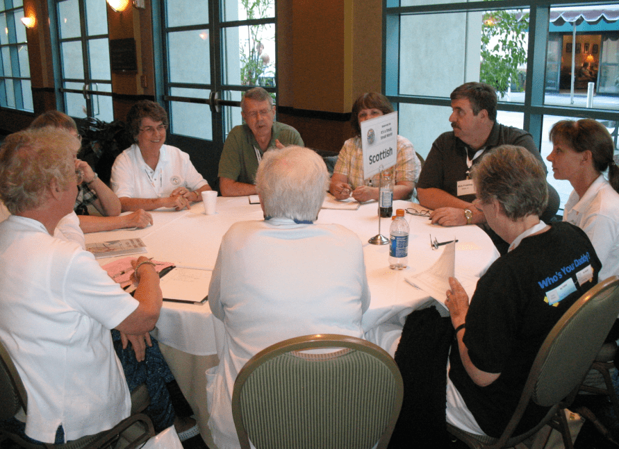 photo of a discussion group from last year's Jamboree genealogy conference