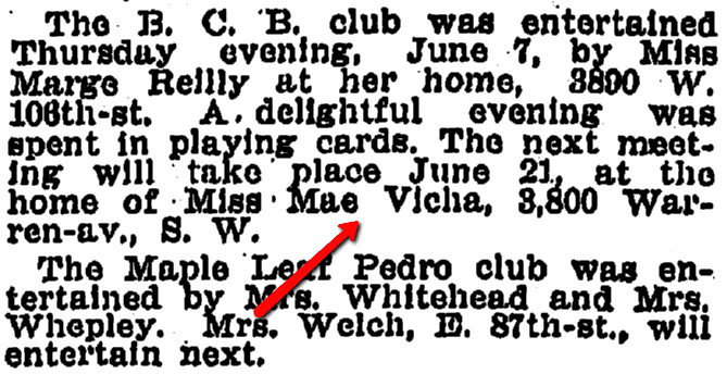 article about Mae Vicha, Plain Dealer newspaper article 10 June 1906