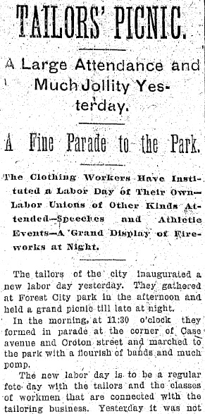 Tailor's Picnic, Plain Dealer newspaper article 21 September 1896