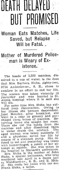 article about Barbara Sluka, Plain Dealer newspaper article 22 September 1907