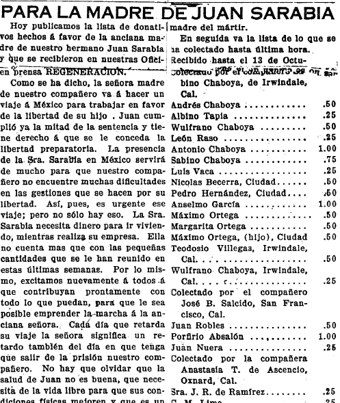article about donations made to support journalist and political activist Juan Sarabia, Regeneracion newspaper article 22 October 1910