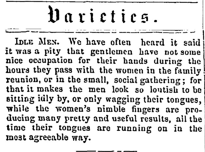 article about family reunions, Salem Observer newspaper article 24 November 1860
