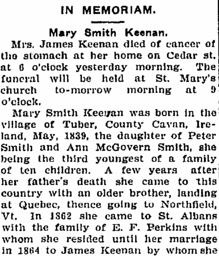 obituary for Mary Smith Keenan, St. Albans Daily Messenger newspaper article 5 February 1906