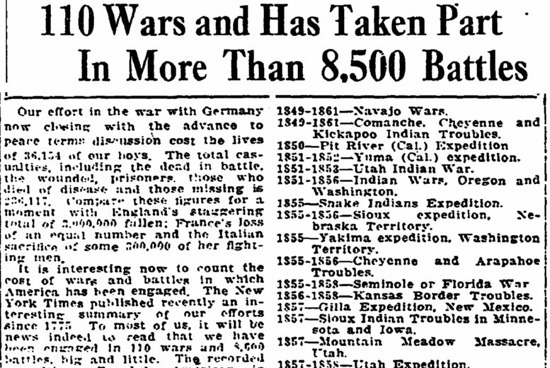 article about all the wars and battles in U.S. history, Trenton Evening Times newspaper article 5 January 1919