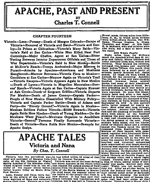 Apache, Past and Present, Tucson Daily Citizen newspaper article 22 May 1921