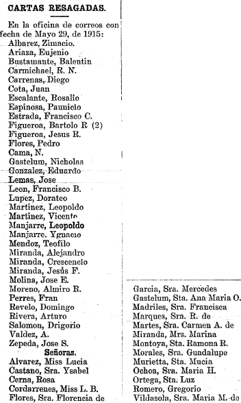 newspaper column listing the names of people who have unclaimed letters awaiting them at the local post office, Tucsonense newspaper article 2 June 1915