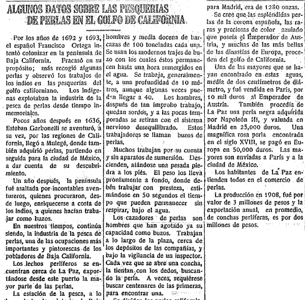 article about pearl fishing in the Gulf of California, Tucsonense newspaper article 1 October 1921