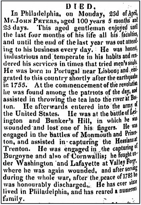 obituary for John Peters, Alexandria Gazette newspaper article 1 May 1832