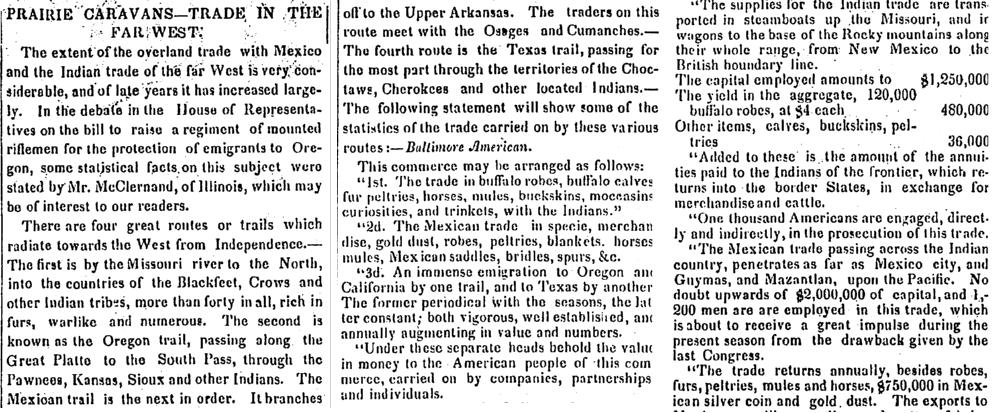 Prairie Caravans--Trade in the Far West, Alexandria Gazette newspaper article 9 May 1846