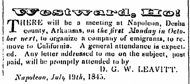 ad urging westward migration, Arkansas Weekly Gazette newspaper article 29 September 1845