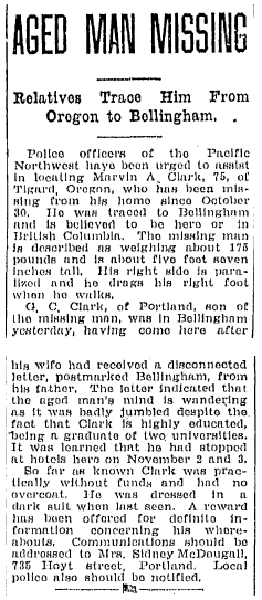 article about missing person Marvin Clark, Bellingham Herald newspaper article 9 November 1926