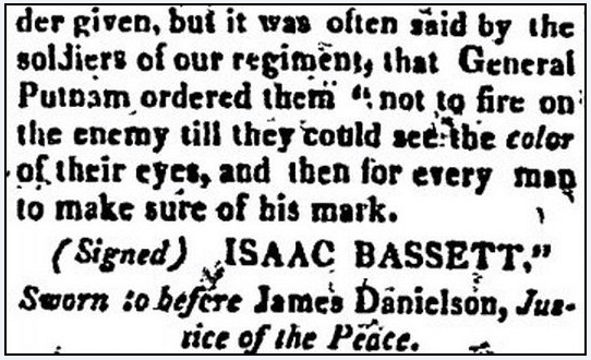 article about the Battle of Bunker Hill, Boston Centinel newspaper article 5 August 1818