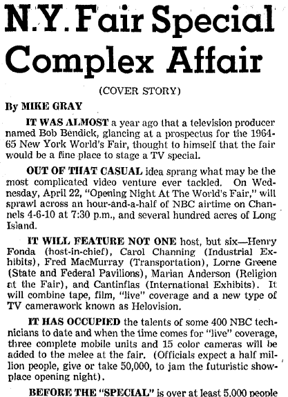 article about a TV special on the 1964 World's Fair, Boston Herald newspaper article 19 April 1964