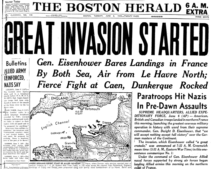 front-page news about the Allied invasion of France on D-Day during WWII, Boston Herald newspaper article 6 June 1944