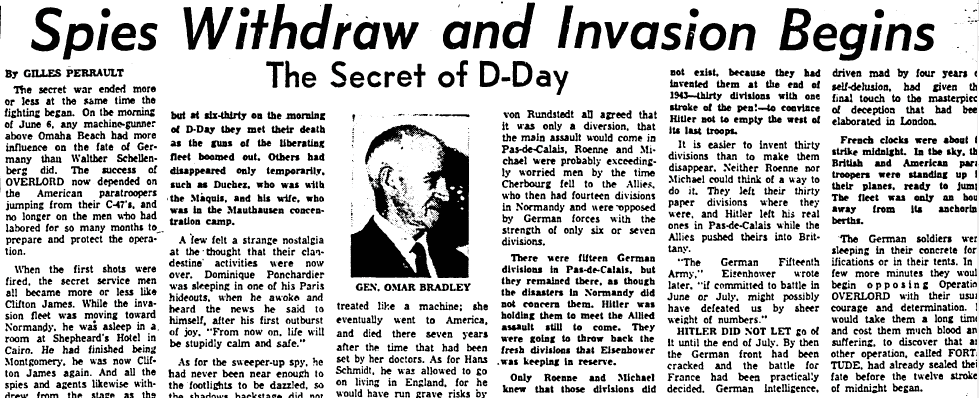 "article about D-Day and the secret ""Operation Fortitude"" during WWII, Boston Herald newspaper article 10 December 1965"