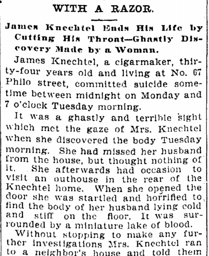 article about James Knechtel's suicide, Cleveland Leader newspaper article 25 August 1897