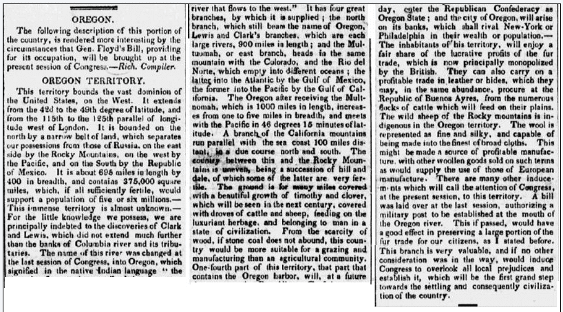article about Oregon, Connecticut Observer newspaper article 26 January 1826