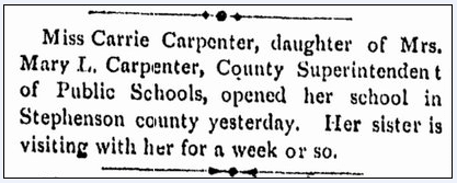 article about Carrie Carpenter, Daily Gazette newspaper article 18 November 1879