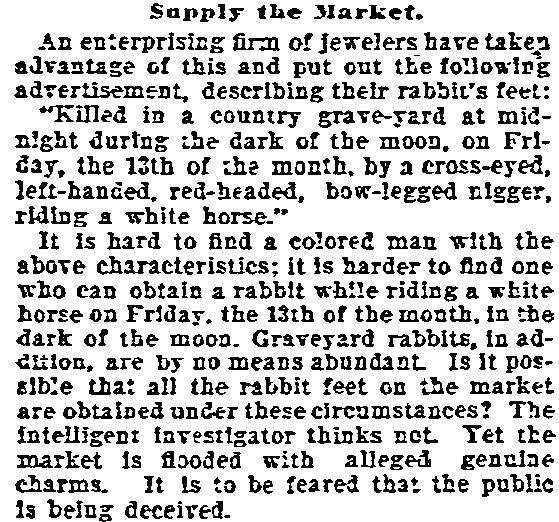 article about Friday the 13th, Daily Inter Ocean newspaper article 2 September 1896