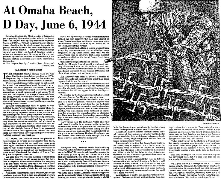 At Omaha Beach, D Day, June 6, 1944, Dallas Morning News newspaper article 3 June 1979