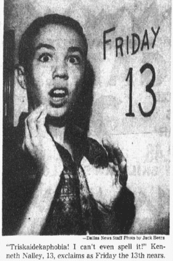 article about Friday the 13th, Dallas Morning News newspaper article 13 September 1963